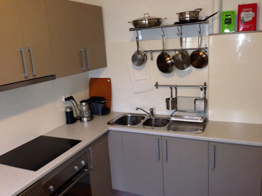 Full kitchen with dishwasher and induction cooktop. All essential pots and pans, crockery, etc.
