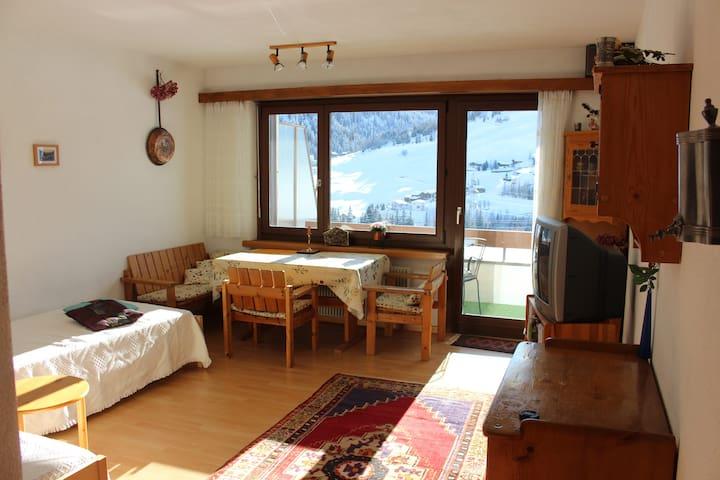 Wohn- und Schlafzimmer mit zwei Einzelbetten (können umgestellt werden zu einem Doppelbett)
