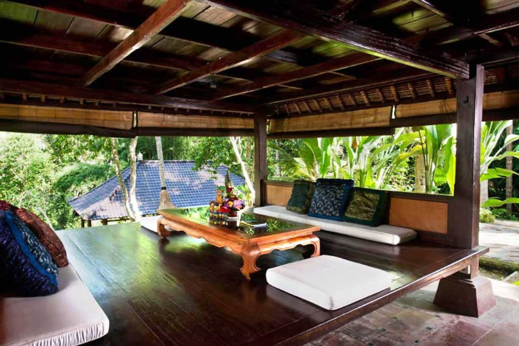 Unique oriental style living area on a modified traditional Balinese platformed pavilion