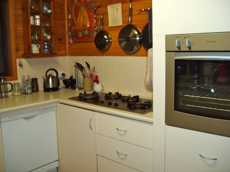 This is the kitchen where you are welcome to make coffee at any time and cook by arrangement.