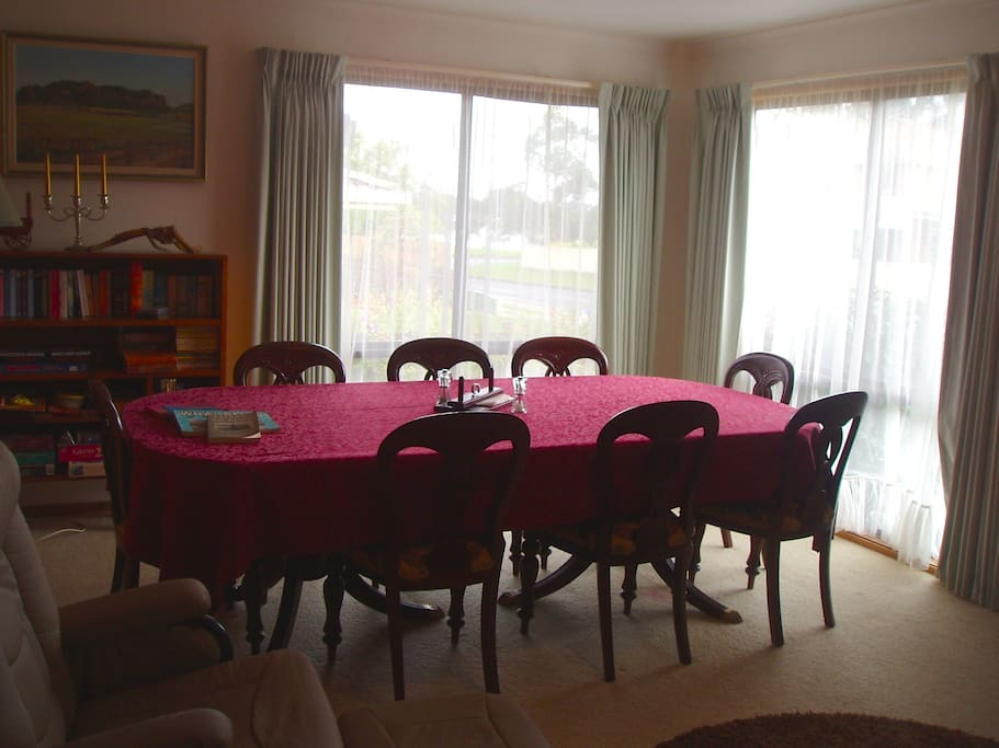 This is the dining room where guests may relax and read up on Eden's history.