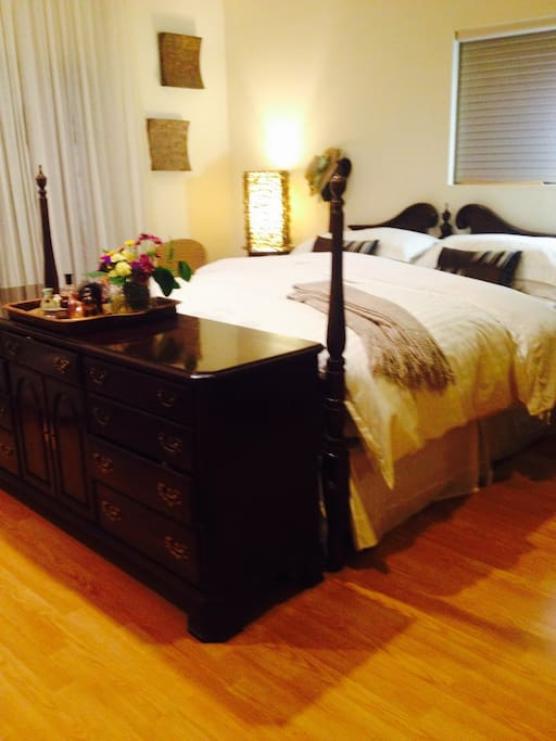 Cal King Bed with down comforters