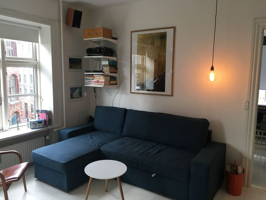 Living room with big sofa bed