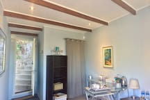 Newly installed country-cottage style ceiling with exposed beams
