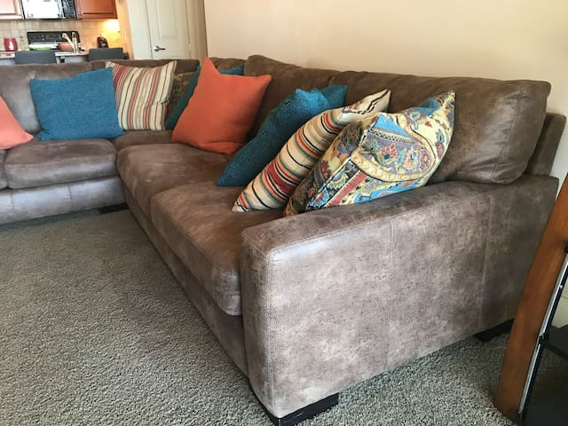 Huge soft leather couch