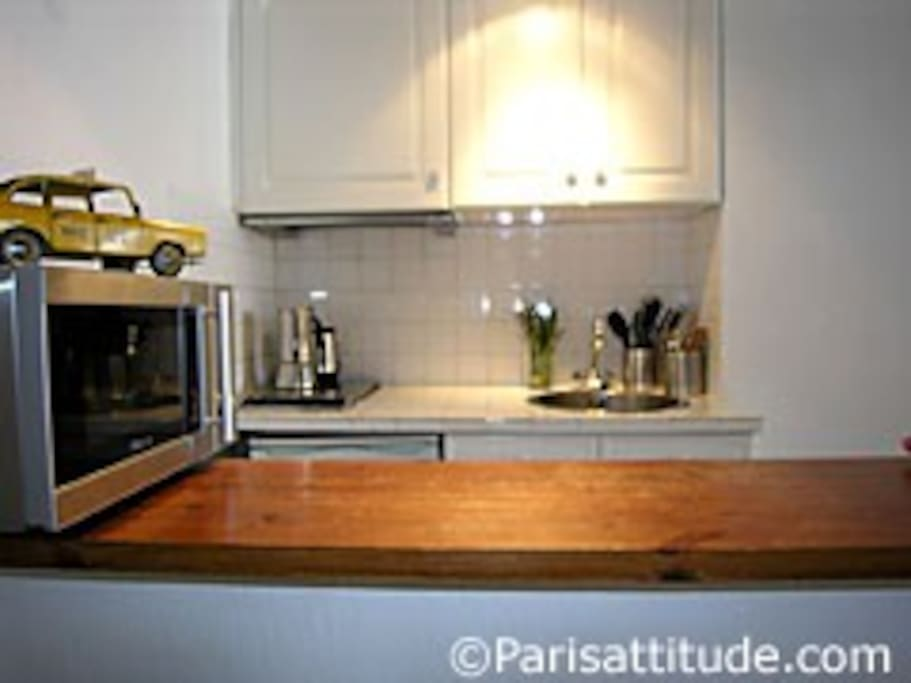 The open kitchen is equipped with : fridge, electric burner, extractor hood, microwave, coffee maker, kettle,  and all kitchen utensils, tiled floor.
