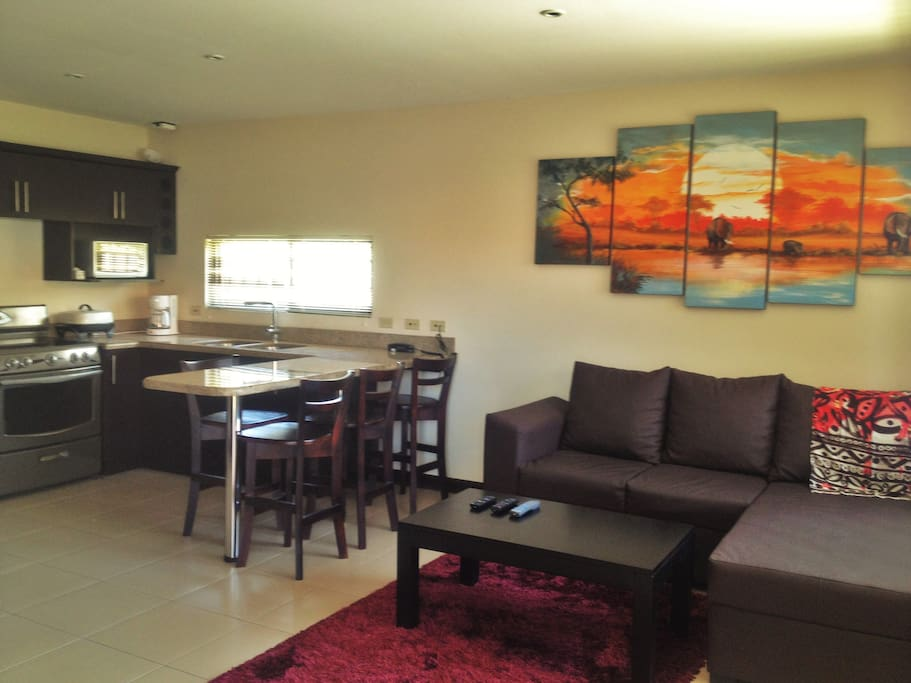 Spacious Lounge, clean, cheerful and decorated with local artist paintings!