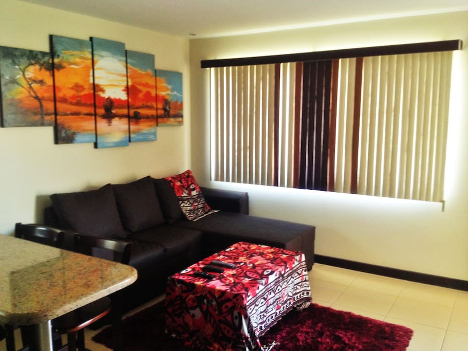 Another angle of the lounge:  with a large, sunny window and modern decorative blinds!