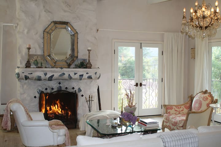 Living Room, Indoor Wood Fireplace