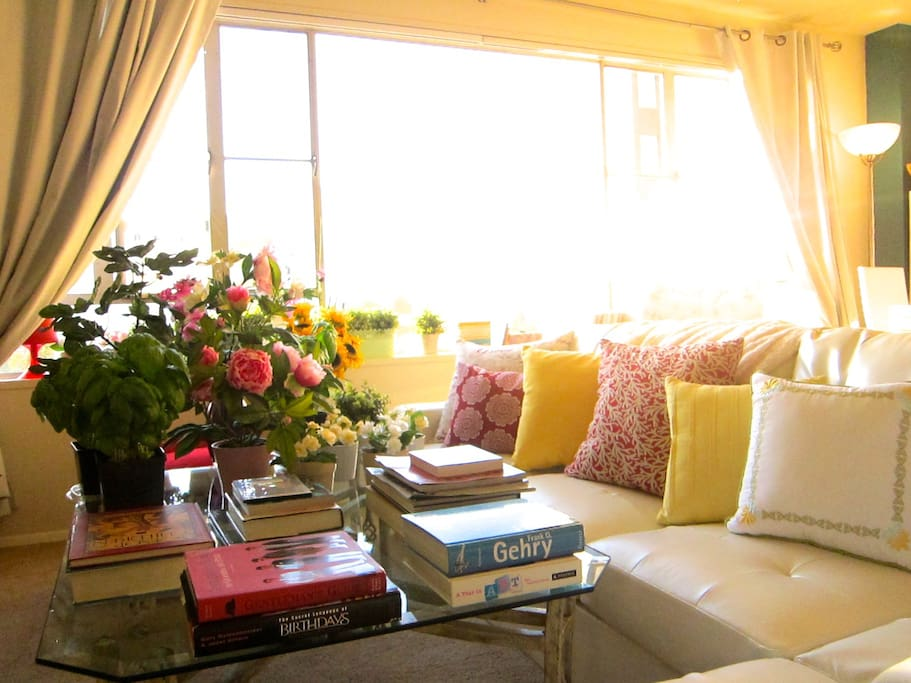 The living room, bathing in the warm light of the sunset.