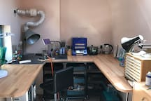 Inside the lampwork studio