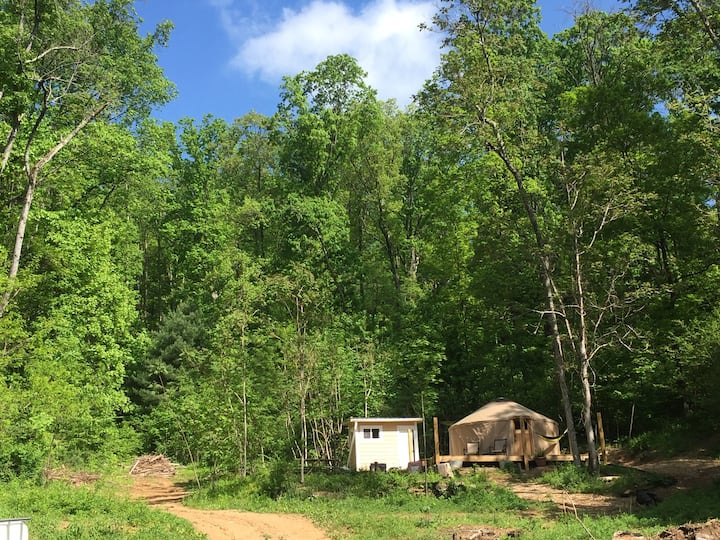 Yurt at Odd Bits Farm: hike, pond, pool.
