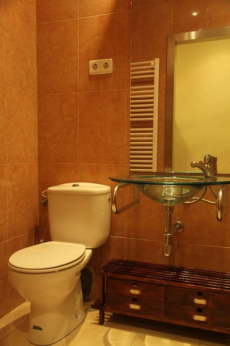 Glass sink and toilet, you also have heating in the bathroom