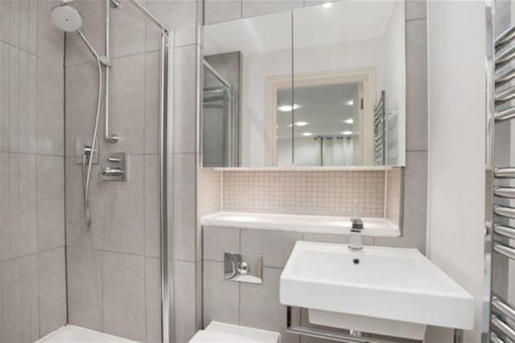 Spacious modern bathroom, with its own shower/tub.
