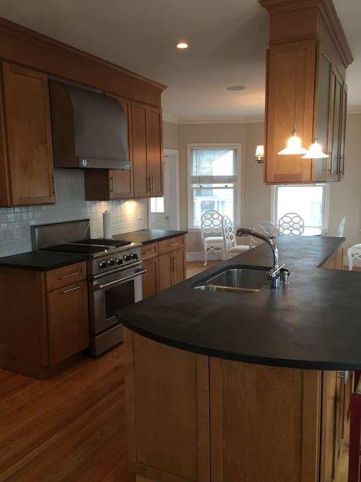 Kitchen with premium stainless steel appliances