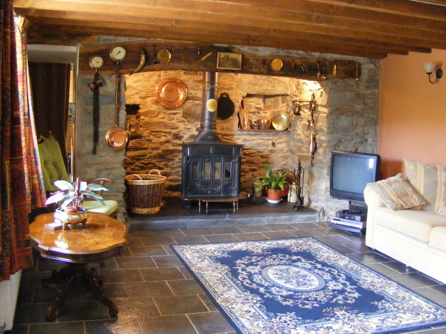 Spacious living room with Log Burning stove.