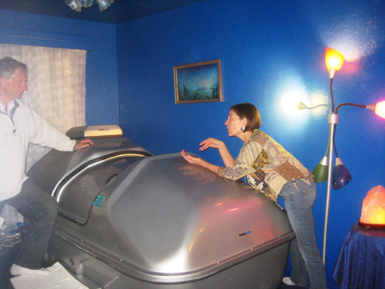 Shanti is demonstrating the Sensory Deprivation Tank for Flotation into Inner Space ... the final frontier