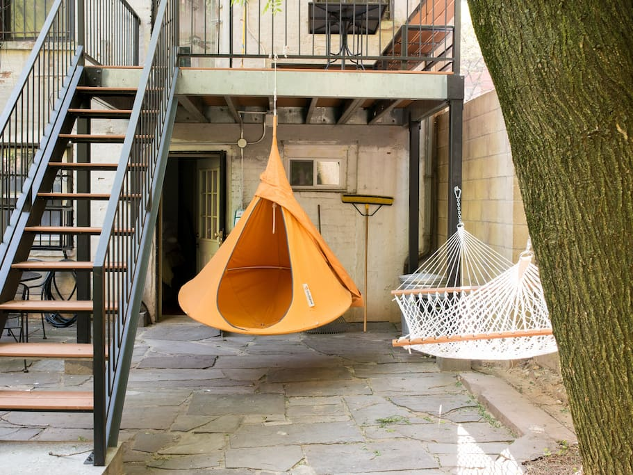 Cacoon hanging chair is up from Spring through Fall