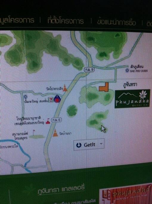 แผนที่ไปภูจันทรา รีสอร์ต ถนนธนรัชต์ กม.ที่ 9 (Map to Map of Phujandra Resort : Thanarat Rd. km 9 or Route 2090)