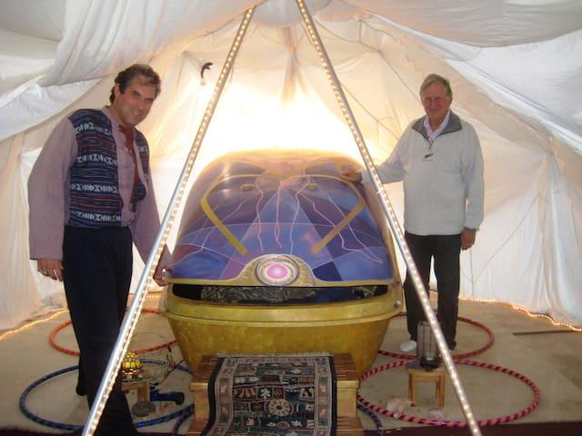 Jai is demonstrating the Sensory eXaltation Pod...a TimeCapsule into 31st Century evolution.....