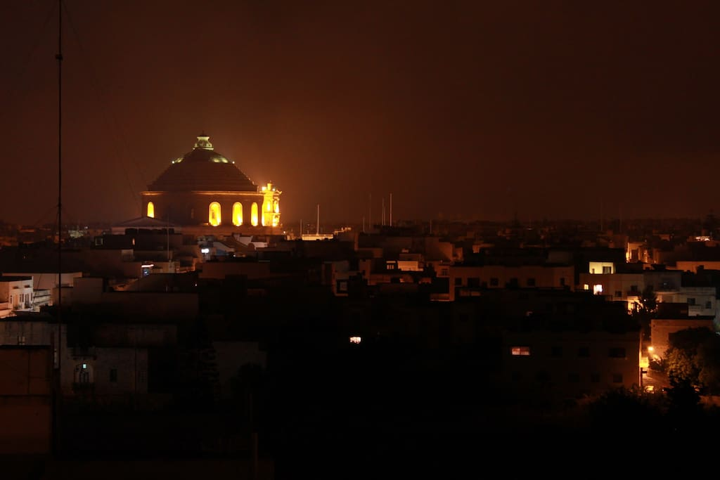 Mosta Dome at Night from Terrace