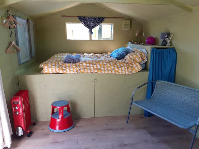 Raised double bed