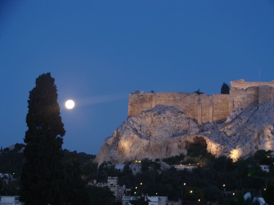 Full moon view of the Acropolis from our western veranda