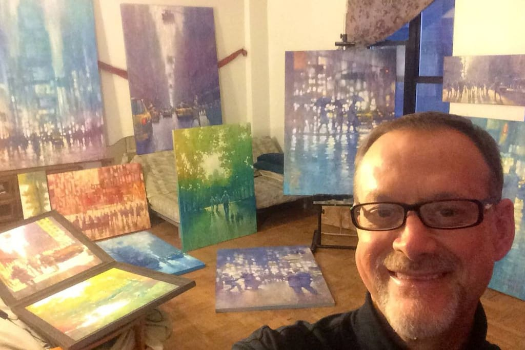 One guest transforms the space into his favorite artist's studio when he is in NY visiting from from Australia.