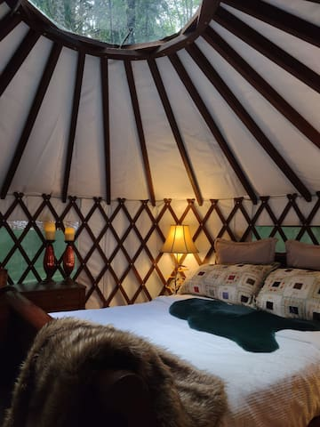 Cozy, warm and unique. The yurt is centered around an antique Amish sleigh bed found in an old barn. Whether it is day or night, rain or shine, nothing beats laying in bed and gazing through the dome at the sky.