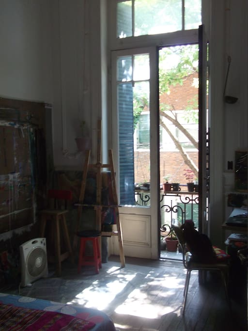 hay un escritorio y una madera en la pared para pegar papeles y pintar.  balcon a la calle con flores q se deben regar.