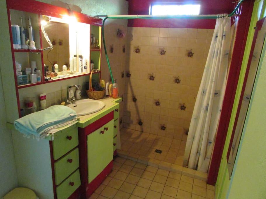 Disponible dans la salle de bain, serviette de toilette, papier WC, shampooing et même un nouveau chauffe eau !