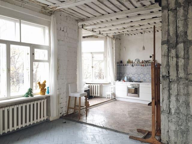 Квартира-мастерская художницы. Лофт.