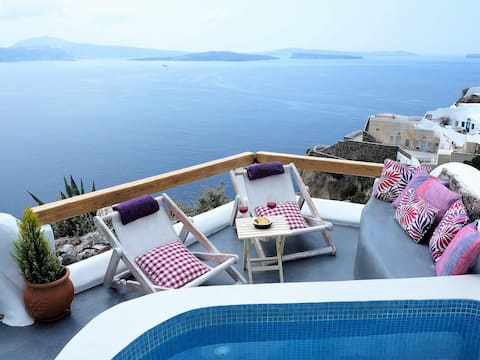Aqua loft  cave  house caldera view, hot plunge