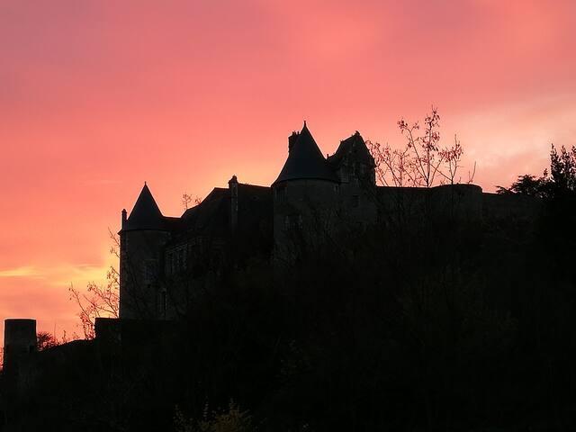 Vue de la terrasse : le château de Luynes