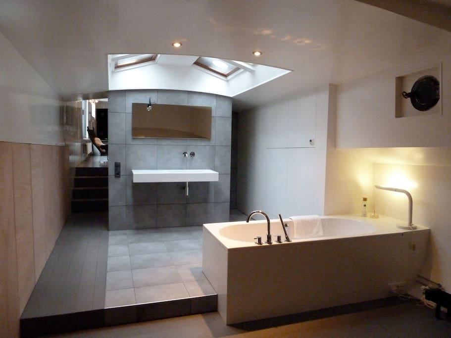bathroom with skylight and separate shower / badtub