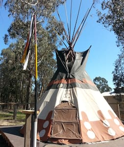 Authentic Native American Tipi on raised deck with  spectacular ocean view! Cozy antique iron double bed complete with bedding and extra blankets.  Private fire ring with cooking grate.  Off-grid with battery lanterns. Approx. 70 yards to shared bath house. Limit 2 guests.