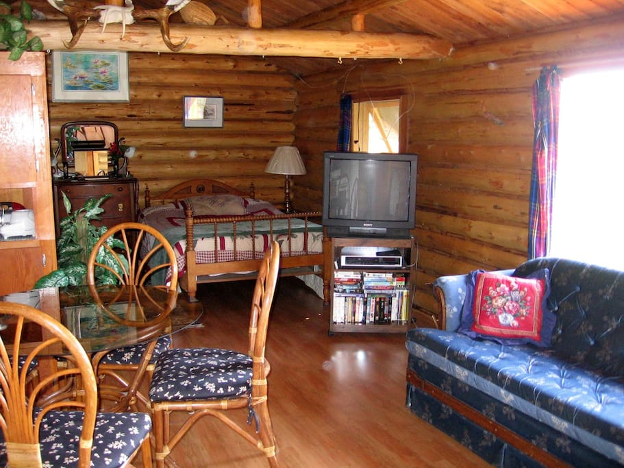 Living area with two love seats and glass fronted wood stove.