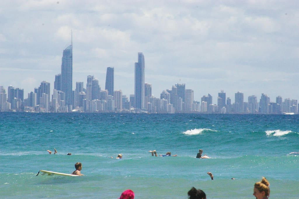Three fav housemates enjoy a dip. photo at Currumbin Alley with view of Surfers Paradise .