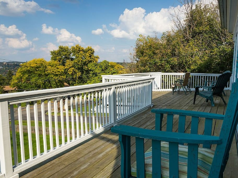 2nd floor deck with views east to Cornell and north to Cayuga lake