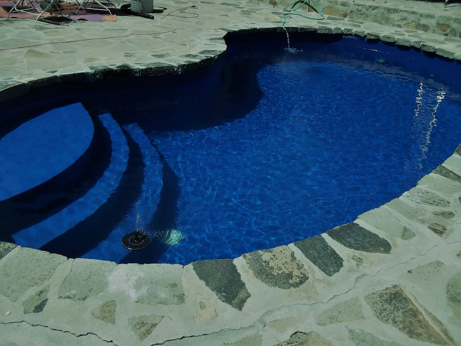 pool has been replastered 3/18 and has a solar cover so nice swimming.