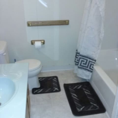 bathroom with shower, shampoo,  conditioner, body wash, makeup towelettes, body towels