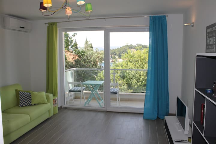 Stylish apt with balcony and town/bay view