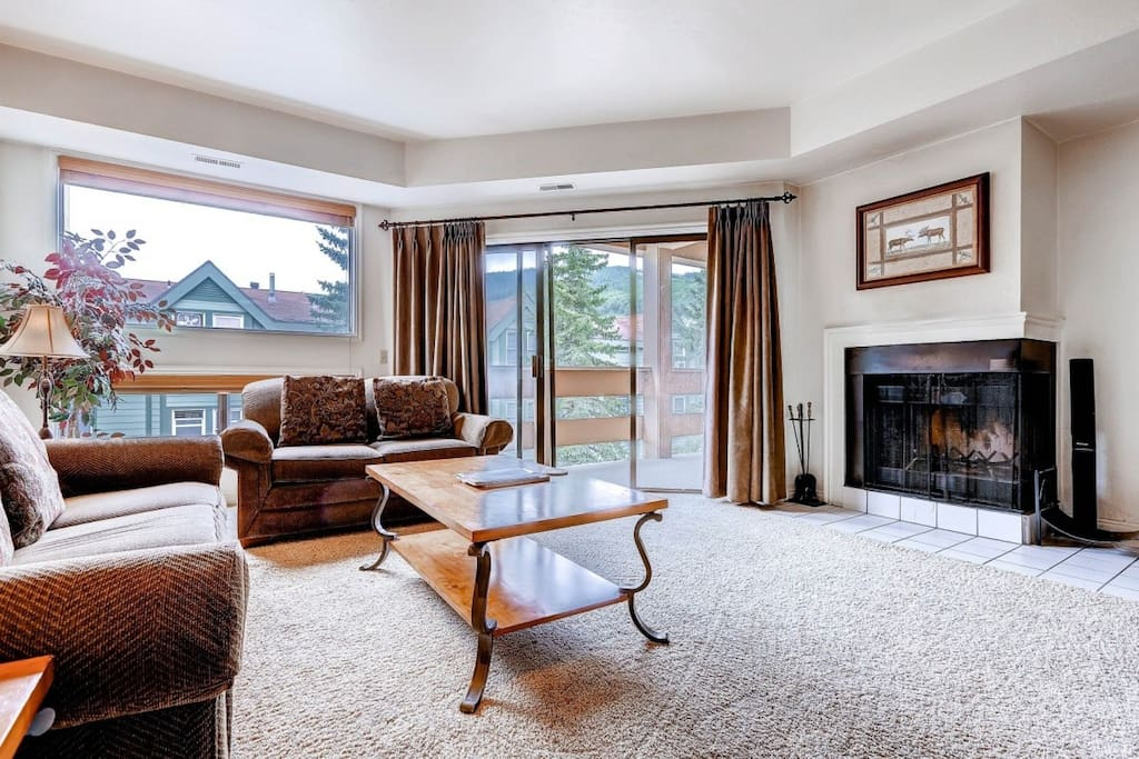 Comfortable Lift Line Condo located at the base of Park City Mountain Resort; spacious living room, dining room, and private balcony.
