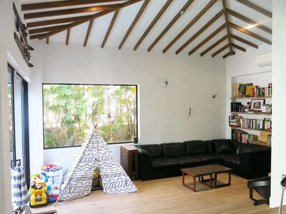 """Den / Family room with 50"""" HD TV and Sonos surround system"""