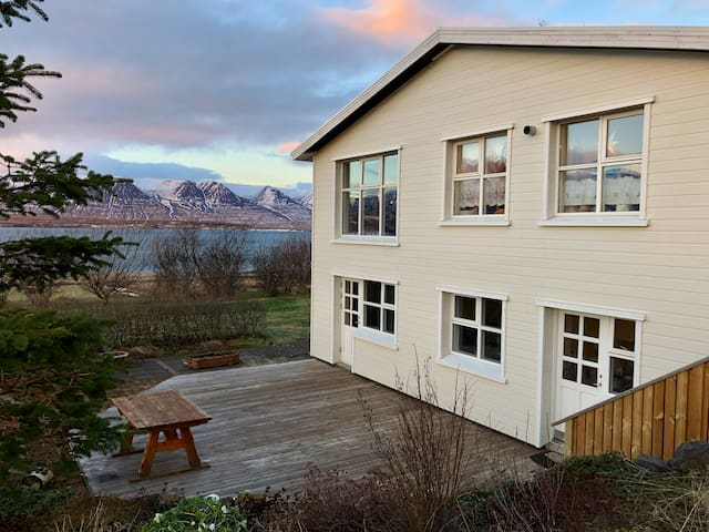 Apartment in village with stunning fjord view