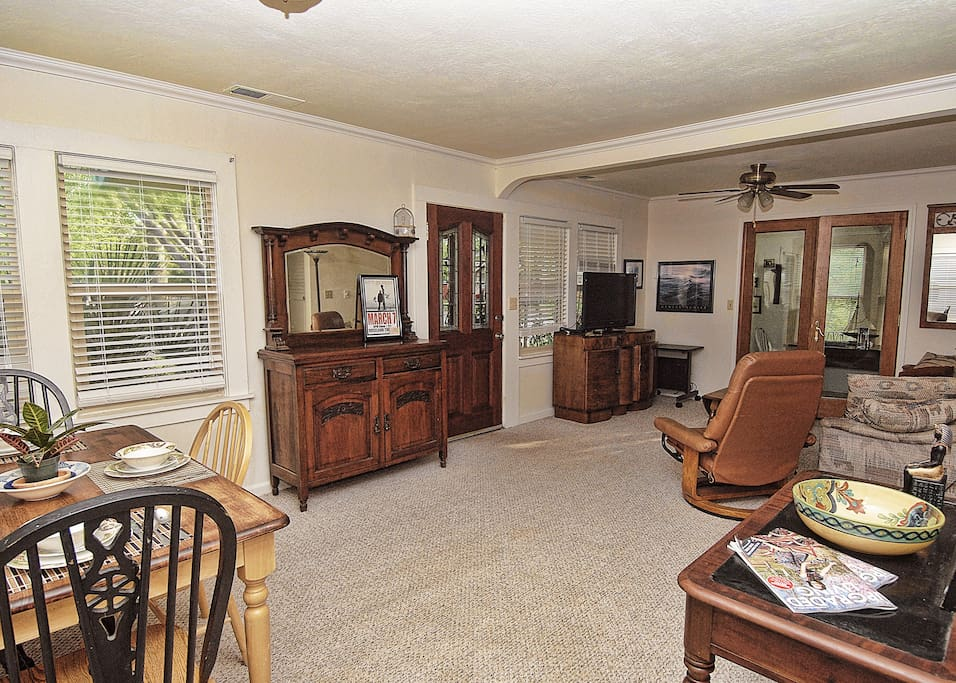 Dining Living Room area. Includes seating for four, comfortable seating and cable t.v.