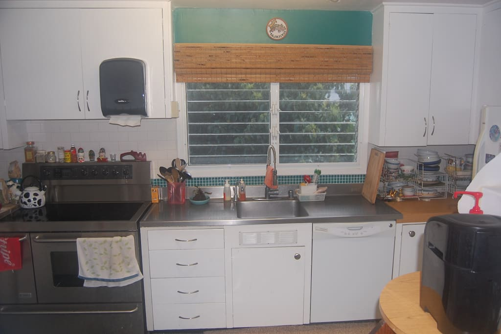 Main Kitchen - Spacious and fully equipped. Lovely view of the mountains!