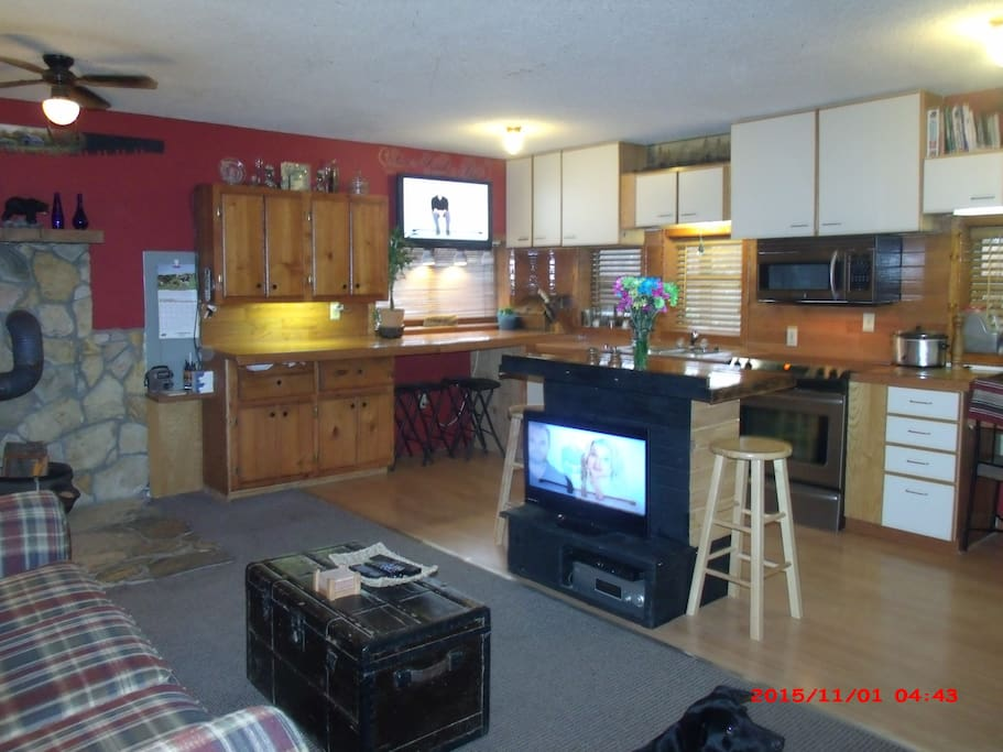 this is the living room and kitchen