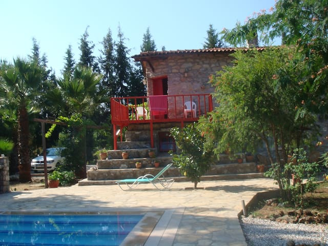 Stone house with pool in a forest. Air con in bedr - Marmaris - Talo