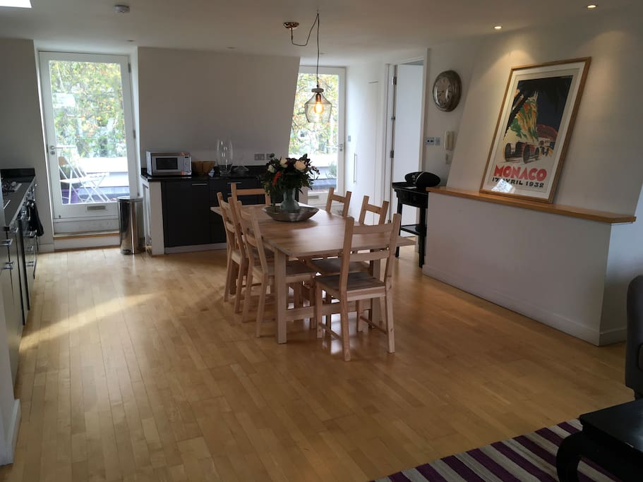 Open plan living/kitchen, opening onto a large full width terrace